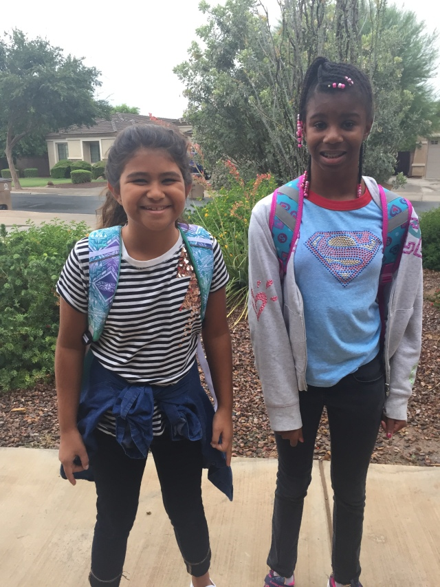 Lia and Grace first day of school
